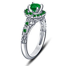 Green Sapphire Womens Engagement Ring 14k White Gold Finish 925 Sterling... - £51.22 GBP
