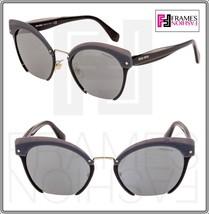 Miu Miu Rasoir Reveal 53T Layers Black Grey Gold Cat Eye Flat Sunglasses MU53TS - $232.65