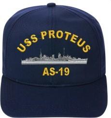 USS PROTEUS AS-19 Ball Cap New Ship Hat Ship Cap