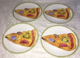 Set 4 Tabletops Unlimited Snack Salad PLATES Pizza Slice kitchen prep 20... - $21.99