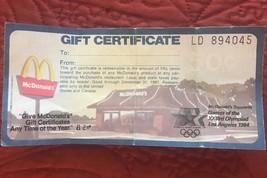 Vintage 1984 McDonalds Gift Certificate Sponsor of Los Angeles Olympics ... - $9.99