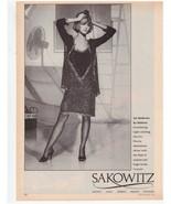 1983 Halston Dress Sakowitz Department Store Vintage Fashion Print Ad 1980s - $16.62