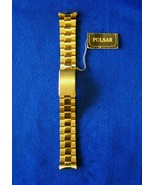 Vintage Pulsar Men's Gold Stainless Steel  Link Bracelet Watch Band with... - $35.00