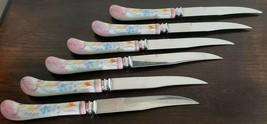Six - Regent Sheffield England Stainless Forever Sharp Knives Porcelain ... - $40.50