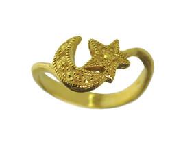 24K YELLOW GOLD PLATED Moon and Star ring Islamic Islam Ladies Ramadan J... - $22.91