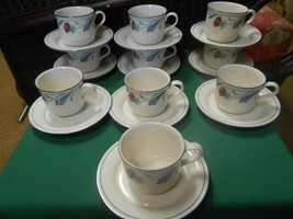 """Beautiful LENOX """"Poppies on Blue"""" CHINASTONE  Set of 10 CUPS & SAUCERS - $66.91"""