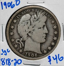 1906O Silver Barber Half Dollar 50¢ Coin Lot# 818-20