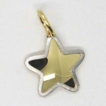 White Yellow Gold Pendant 750 18k, Star with satin edge image 2