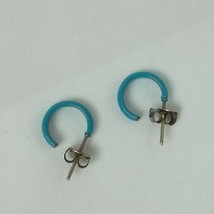 """VINTAGE BLUE HOOP STUDS Earrings APPROX 0.5"""" inc diameter (J) - $7.02"""