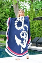 "60"" Round Nautical Design Beach Towel with Anchor - Polyester & Spandex"