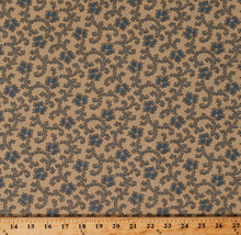Cotton Bon Voyage Blue Floral on Tan French General Fabric Print by Yard... - $11.49