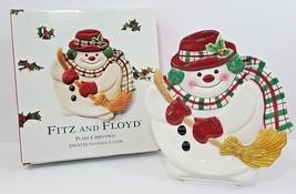 Fitz & Floyd Snowman Canape Plate - Plaid Christmas - NIB - $25.23
