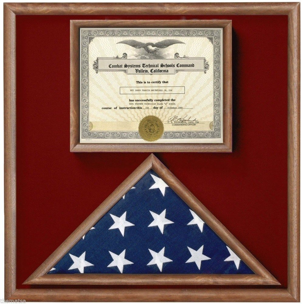 Primary image for USA MADE WALNUT WOOD 3X5 MEMORIAL FLAG DOCUMENT HOLDER DISPLAY CASE SHADOW BOX