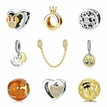 Authentic 925 Sterling Silver bead Love Shine Gold Charms suit pandora b... - $7.51+