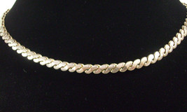 Coro Silver Plate Necklace Serpentine Chain Choker Vintage Estate Career - $24.70