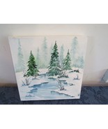 Betsy Kent Peace on Earth Winter Water Color Painting on Canvas Original... - $34.71