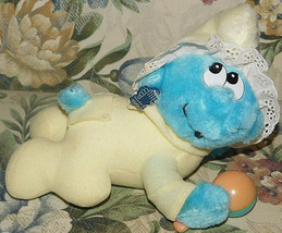 Vintage BABY SMURF Plush Crawling Doll 1983 Wallace Berrie Applause + ta... - $18.69