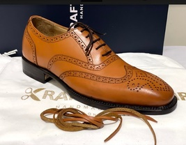 Handmade Men's Brown Leather Wing Tip Heart Medallion Lace Up Dress/Formal Shoes image 4