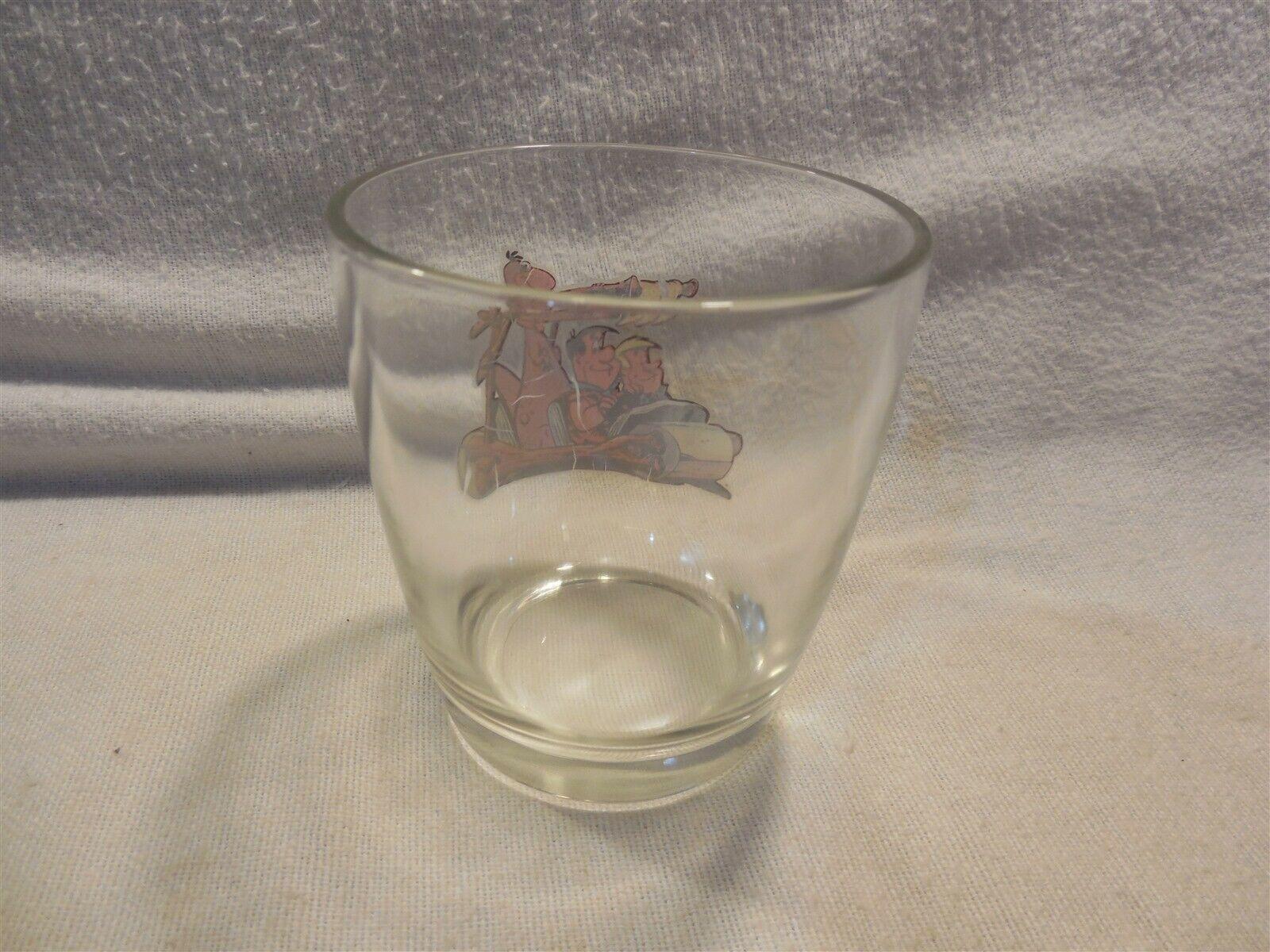 Vintage Flintstones Cocktail Sour Cream Glass Fred, Barney & Dino in Flintmobile