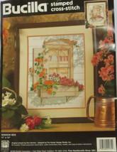 Window Box Cross Stitch Kit Stamped Bucilla Flowers Poppy Pansy Geranium OOP - $23.75