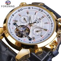 Forsining Automatic Mechanical Men's Watch Fashion Golden Tourbillon Moo... - $102.99