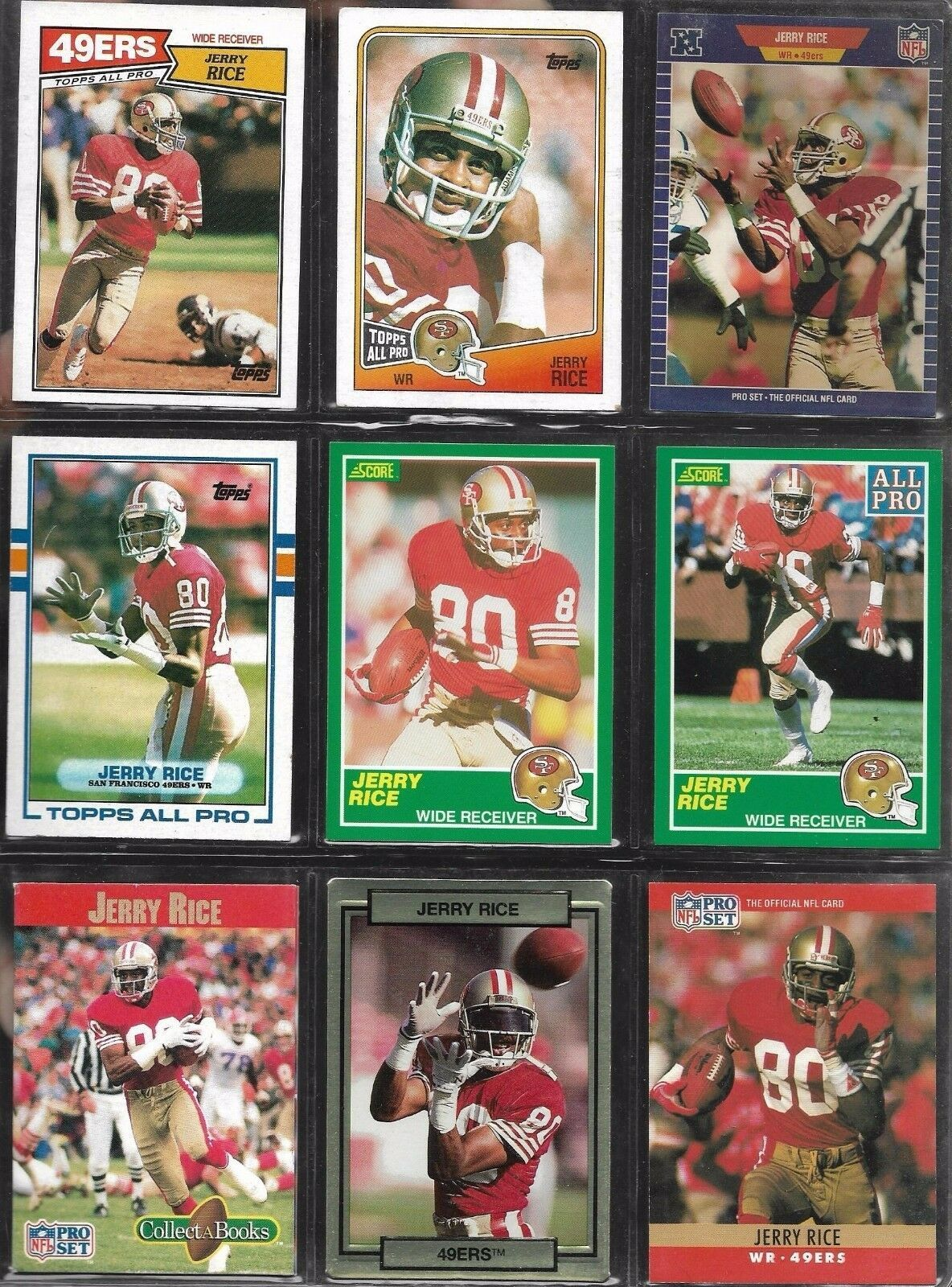 Jerry Rice San Francisco 49ers 1987-90 Topps Score NFL Pro Set Football Card Lot