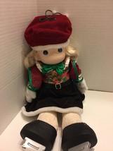 Tara Precious Moments Doll Skates Christmas Holiday 1128 Soft Body Red V... - $9.49