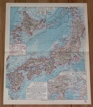 1928 ORIGINAL VINTAGE MAP OF JAPAN / TOKYO YOKOHAMA VICINITY INSET MAP - $17.82