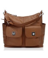 New Brown Pebbled Italian Leather Nappy Baby Mommy Diaper Bag Shoulder Bag - $148.45