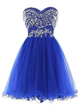 Sweetheart Beading Homecoming Dresses Short Tulle Prom Party Dresses for... - $127.00