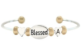 Custom Blessed Oval Two Tone Gold Silver Cuff Bracelet Jewelry Choose In... - $18.80+