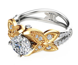 Unique Butterfly Design 1CT Moissanites Engagement Ring Solid 14K Yellow - $1,299.99