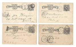 4 US Liberty Head Postal Stationery Cards (1) UX5 (3) UX7 Assorted Cancels - $9.95