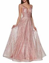 Sparkle V-Neck Tulle Prom Dresses Long Glitter Formal Evening Dresses 2019 - $134.99+