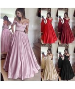 Ladies Evening Party Drees Plus Size Pure Color Lace High Waist Off Even... - $58.50