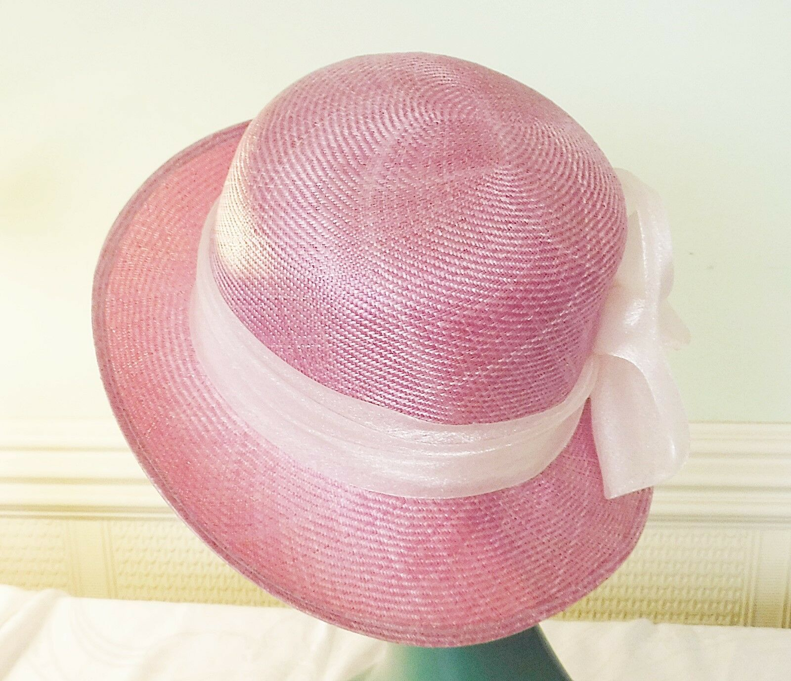 *EXQUISITE VINTAGE LILACY PINK TWEED SISSAL STRAW HAT LIGHTER BAND & ROSSETTE
