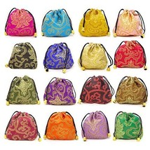 Honbay 16PCS Silk Brocade Drawstring Jewelry Pouches Coin Purses Gift Bags image 1
