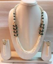 Green Kundan Pearl Beaded Necklace Earrings Gold Tone Indian Fashion Jewelry Set - $19.79