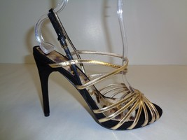 Sam Edelman Size 8.5 M HARLETTE Gold Black Leather Sandals New Womens Shoes - $98.01