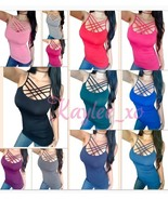 Spaghetti Lace up Criss Cross Strappy Caged Stretch Layering Tank Top Sh... - $19.89
