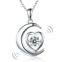 Women Moon Heart Pendant Necklace Solid 925 Sterling Silver Star Dancing... - $46.99