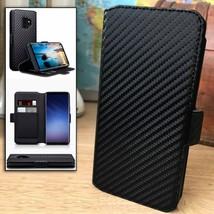 Samsung Galaxy J4 PLUS  2018  Impact Resistant Carbon Fiber Flip Case Black - $23.41