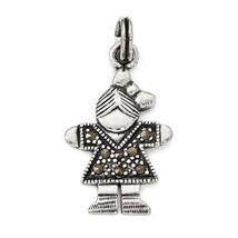 925 Sterling Silver Girl Charm Pendant 28mmx15mm - $32.58