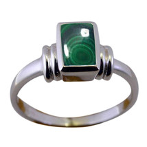 Natural Malachite Gemstones Silver Rings For Women Rectangle Shape Jewel... - $13.46
