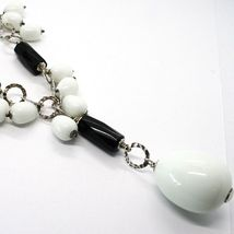 Necklace Silver 925, Onyx Black, Agate White Drop, Waterfall Pendant image 4