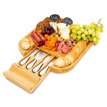 Bamboo Cheese Board and Knife Set - Includes 4 Stainless Steel Knives in... - $58.72 CAD