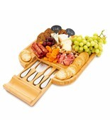 Bamboo Cheese Board and Knife Set - Includes 4 Stainless Steel Knives in... - £36.58 GBP
