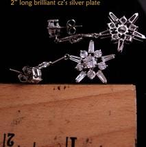 Vintage Star earrings - Bridal jewelry - snowflake chandelier drops - brilliant  image 5