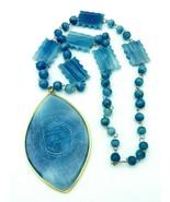 Vintage Polished Blue Etched Agate 18k Gold Trimmed BOHO Necklace - $118.80