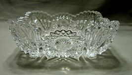Imperial Glass Bowl, Sawtooth & Hobstar Pattern, Shiny Square Crystal Bowl - $22.99